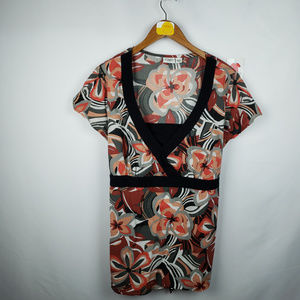 Cato Womens Babydoll Top 18/20W V-Neck Floral
